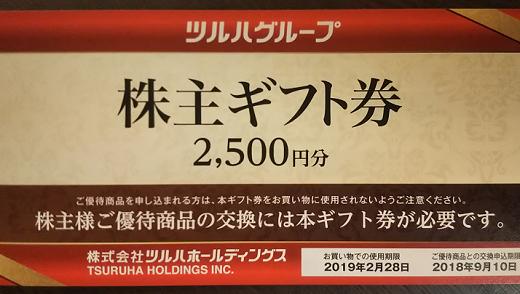 ツルハホールディングスから自社商品券の株主優待が到着!