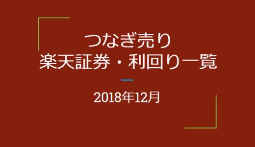 2018年12月つなぎ売り、楽天証券利回り一覧(優待クロス取引)