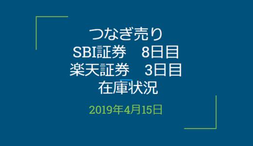 2019年4月つなぎ売り、SBI証券8日目、楽天証券3日目の在庫状況(優待クロス取引)