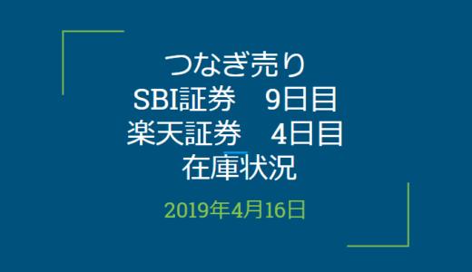 2019年4月つなぎ売り、SBI証券9日目、楽天証券4日目の在庫状況(優待クロス取引)