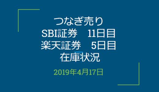 2019年4月つなぎ売り、SBI証券11日目、楽天証券5日目の在庫状況(優待クロス取引)