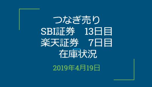 2019年4月つなぎ売り、SBI証券13日目、楽天証券7日目の在庫状況(優待クロス取引)