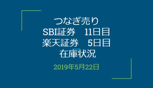 2019年5月つなぎ売り、SBI証券11日目、楽天証券5日目在庫状況(優待クロス取引)