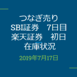 2019年7月つなぎ売り、SBI証券7日目、楽天証券初日在庫状況&クロス状況(優待クロス)