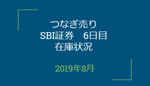 2019年8月つなぎ売り、SBI証券6日目在庫状況&クロス状況(優待クロス)