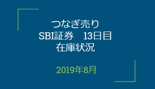 2019年8月つなぎ売り、SBI証券13日目在庫状況&クロス状況(優待クロス)