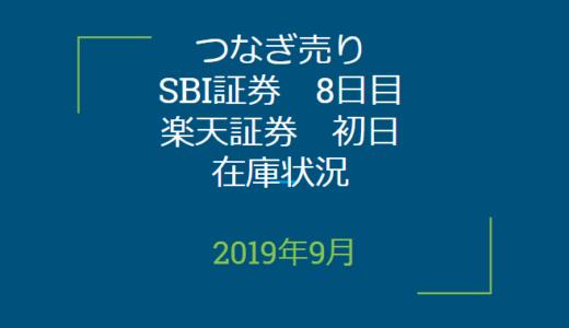 2019年9月つなぎ売り、SBI証券8日目、楽天証券初日在庫状況&クロス状況(優待クロス)
