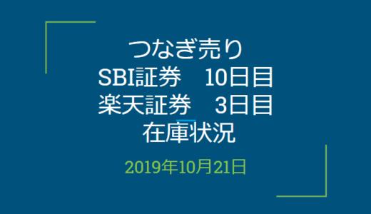 2019年10月つなぎ売り、SBI証券10日目、楽天証券3日目在庫状況&クロス状況(優待クロス)