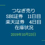 2019年10月つなぎ売り、SBI証券11日目、楽天証券4日目在庫状況&クロス状況(優待クロス)