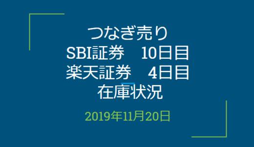 2019年11月つなぎ売り、SBI証券10日目、楽天証券4日目在庫状況&クロス状況(優待クロス)