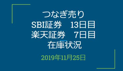 2019年11月つなぎ売り、SBI証券13日目、楽天証券7日目在庫状況&クロス状況(優待クロス)