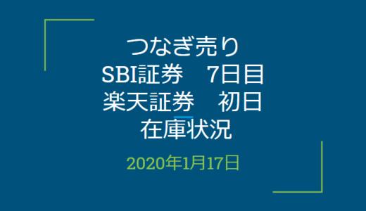 2020年1月つなぎ売り、SBI証券7日目、楽天証券初日在庫状況&クロス状況(優待クロス)