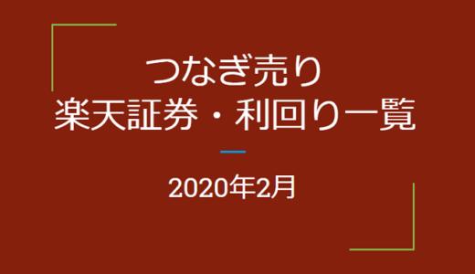 2020年2月つなぎ売り、楽天証券の株主優待利回り一覧【クロス取引】