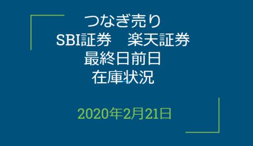 2020年2月つなぎ売り、SBI証券、楽天証券最終日前日在庫状況&クロス状況(優待クロス)