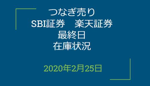 2020年2月つなぎ売り、SBI証券、楽天証券最終日在庫状況&クロス状況(優待クロス)