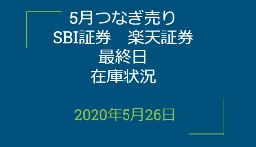 2020年5月一般信用の売り在庫状況 SBI証券、楽天証券最終日(優待クロス取引)
