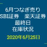 2020年6月一般信用の売り在庫状況 SBI証券、楽天証券最終日(優待クロス取引)