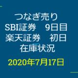 2020年7月一般信用の売り在庫状況 SBI証券9日目、楽天証券初日(優待クロス取引)