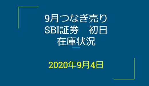 2020年9月一般信用の売り在庫状況 SBI証券初日(優待クロス取引)