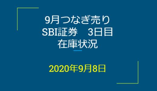 2020年9月一般信用の売り在庫状況 SBI証券3日目(優待クロス取引)