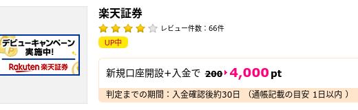 【キャンペーン】楽天証券の口座開設&入金で4,000円相当!