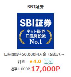 SBI証券の口座開設&入金で17,000円相当が貰える!